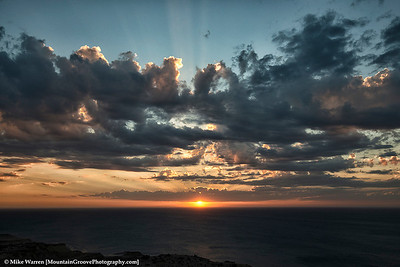 Sunset and God's Rays over the South Atlantic Ocean