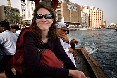 Riding across the Dubai waterway.