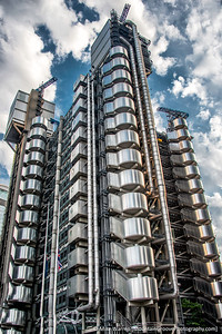 "The Lloyd's building, built ""inside-out,"" with all of its systems on the outside, and the offices inside."