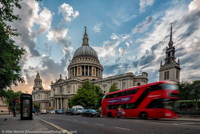 St Peter's Cathedral, and one of the iconic red London busses.  This is a longer exposure to blur the bus and show its movement.