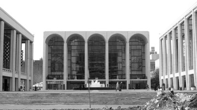 This is the front of the Lincoln Center for the Performing Arts building on Broadway and Columbus Ave.