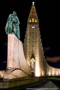 Hallgrimskirkja Church and Leifur Eiriksson