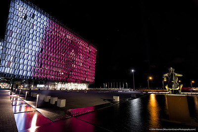 Harpa, and public art, in Reykjavik
