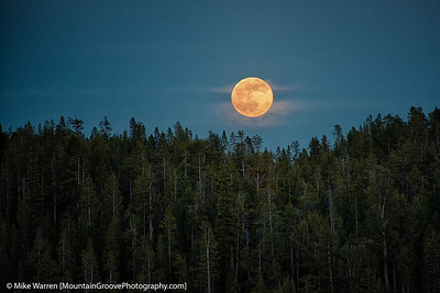 A full moon adds to the glory of Yellowstone