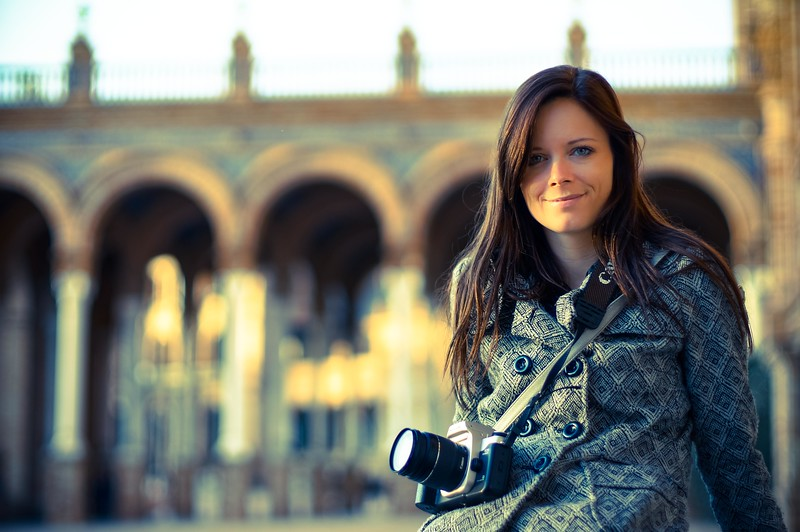 Jenna at the Plaza de Espana, Seville