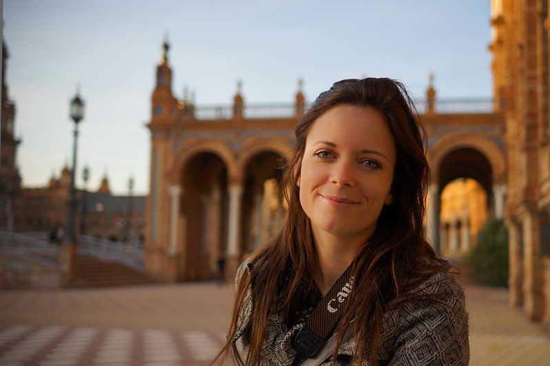 Jenna at the Plaza de Espana, Seville