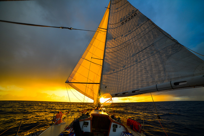 Sailboat sunrise sails wing on wing-1