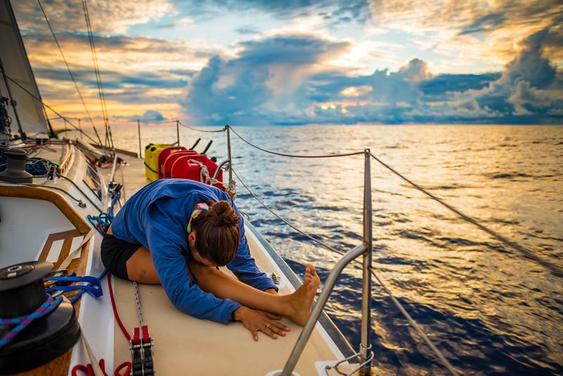 Sailboat Yoga Sunrise Pacific Ocean-2