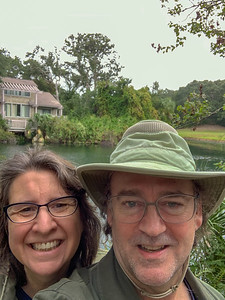 The two of us walking around the resort before the rain begins