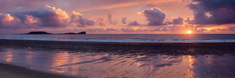 Sunset over Rhossili Bay and the Worm's Head