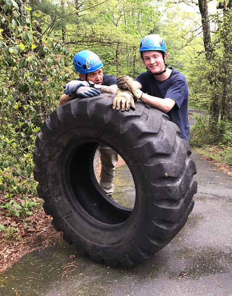 Rescue crews were bringing up tractor tires that had been thrown into the gorge years ago as a training exercise. It's exhausting to push a tractor tire uphill!