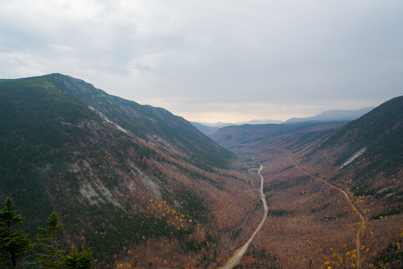Looking down Crawford Notch from the end of the Mount Willard Trail