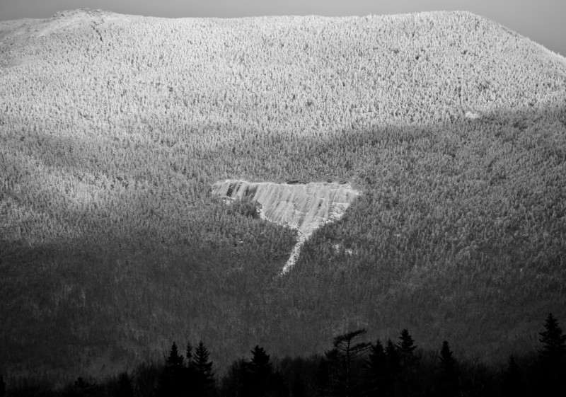 The Shining Rock beneath Franconia Ridge as seen from Lonesome Lake