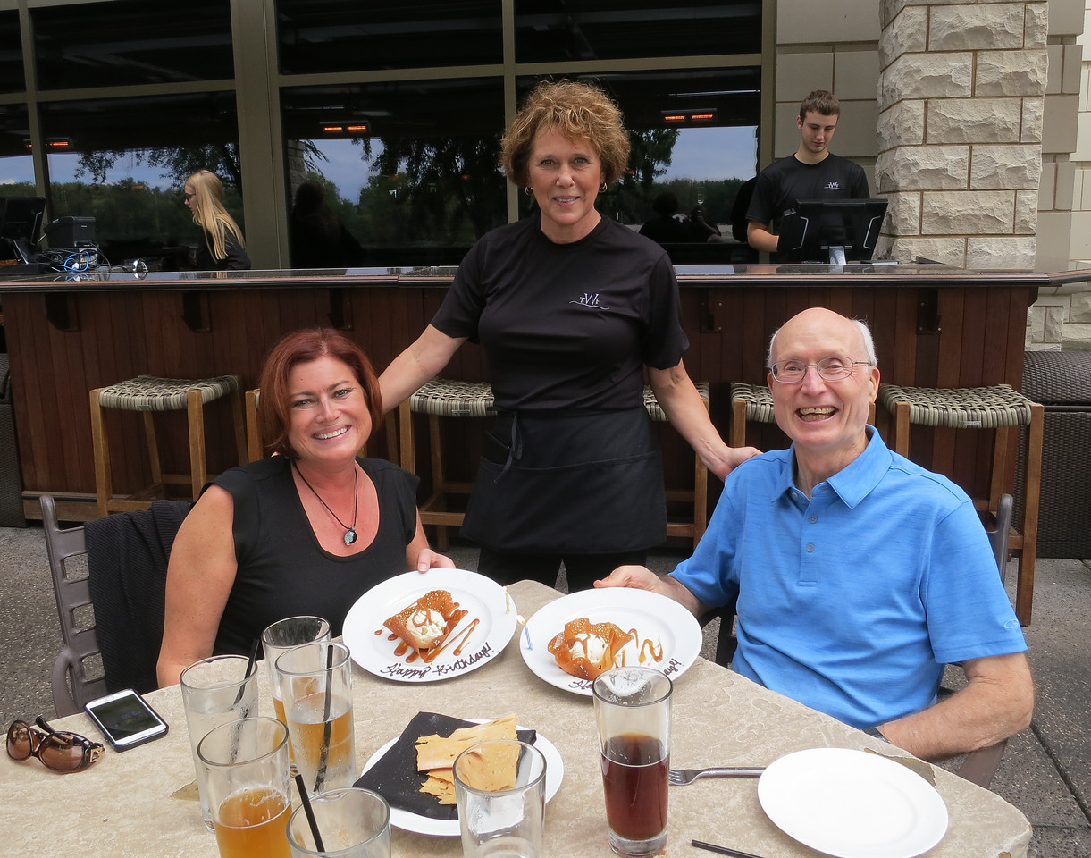 We enjoyed a delightful waterfront lunch with a fantastic waitress.