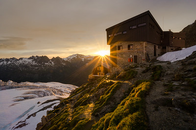 Albert Premier refuge at sunset, Chamonix, France