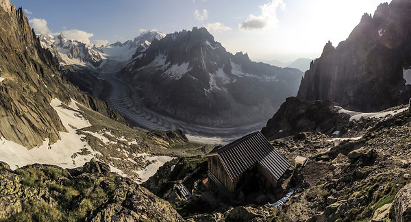 Charpoua refuge in evening light, looking out to Mt Blanc in the distance.