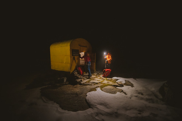 Valentine Fabre and Tom Livingstone at the Giraudo bivouac, Valle dell'Orco, Italy