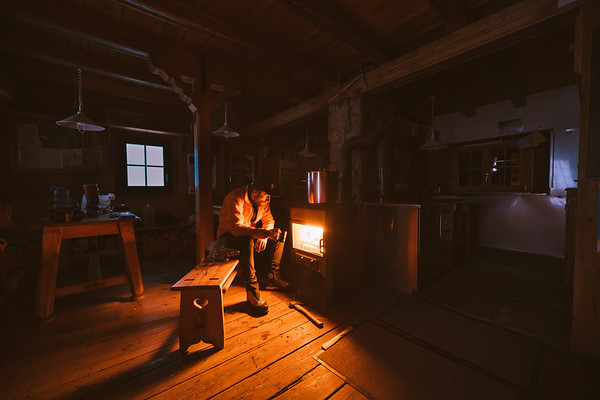 Alex Strohl in the Cabane de l'A Neuve, Switzerland