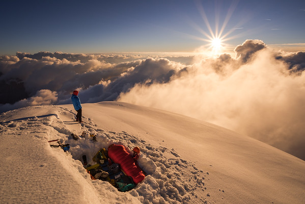 Laurent Soyris and Gabriel Mazur bivouacing on the Aiguille Verte summit, France