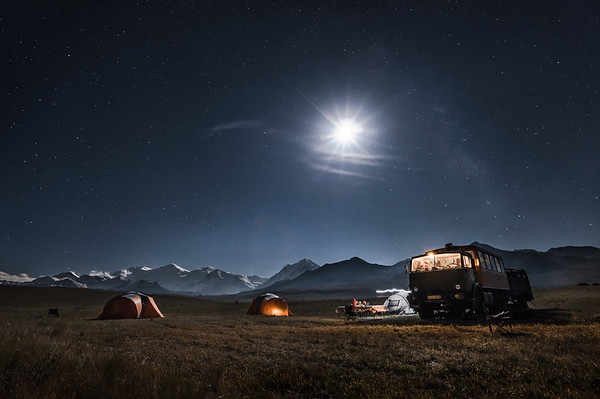 Approach camp by moonlight, Zaalay range, Pamir, Kyrgyzstan