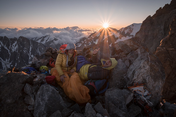 Patrick Gabarrou and Phil Ashby bivouacked on the Brouillard Integral ridge of Mont Blanc at over 4000m, Italy
