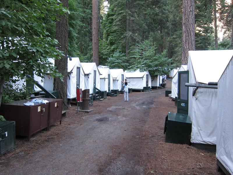 Curry Village tent cabins - the cheapest thing around if you don't have camping gear.
