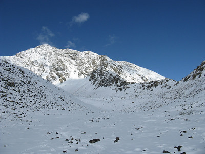 Our first full view of Torreys, with the Kelso Ridge ascending from the shaded saddle on the right.