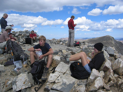 ... plus Ben and Johanna Phelps.  We five then went on to handily summit Torreys, behind on the right.