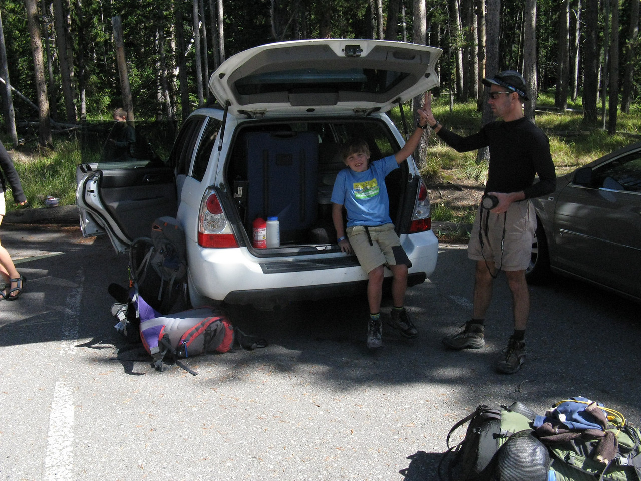 There is a God - the car gleefully re-claimed about 3:30. This was Zach's first backpack - the only youth we saw in the backcountry. .. When the chips are down, you want Zach on your team!