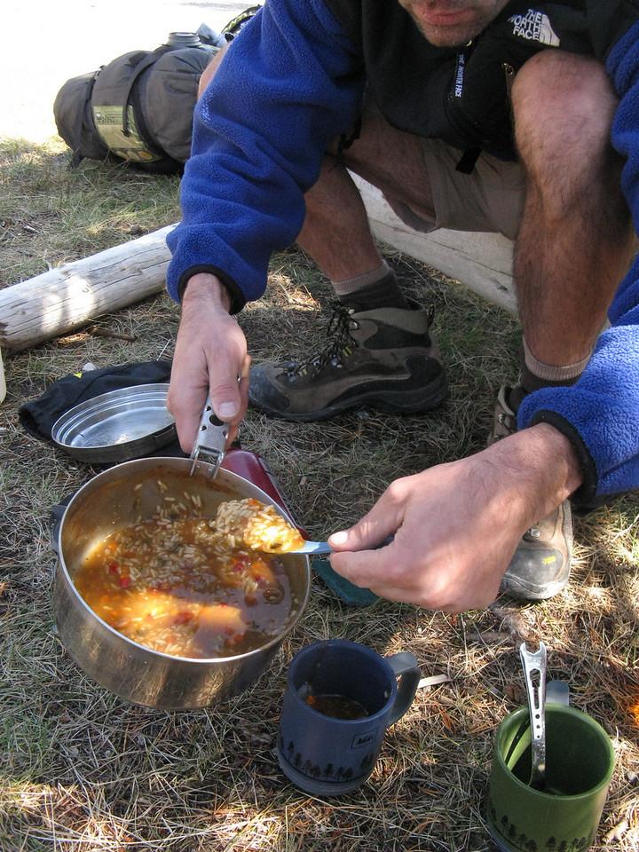 Kevin makes a killer Cajun gumbo rice soup.