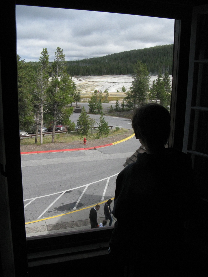 Looking out on Upper Geyser Basin, OF out of view to the right.
