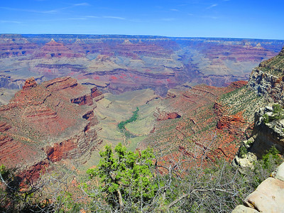 Near GC Village - a first view down the Bright Angel Trail canyon, with N. Kaibab Trail in the ascending canyon on the other side of the river. ... Indian Garden is the green oasis in the middle.