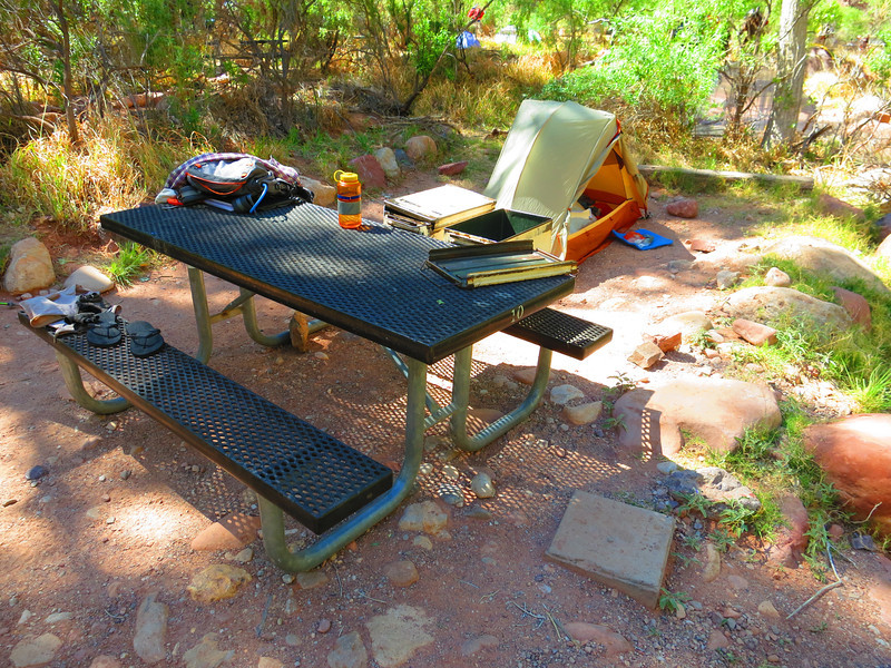 Can you see the two large ammo cans on the back side of the bench - for food storage.