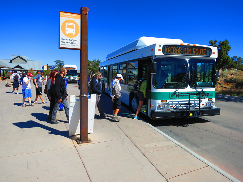 OK, Friday morning - time to board the requisite shuttle to the S. Kaibab Trailhead.