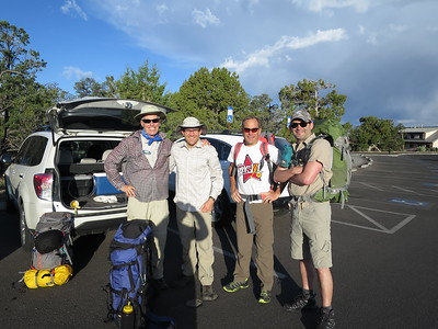 No turning back now! .. L-R: Bill, Lou, Kevin & Beau.  ... Hopefully, we'll still be smiling if and when we ever make it back to the surface.