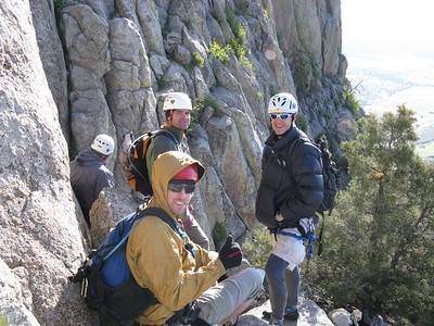 Jason with the red helmet (as is mine), Ben with the white and Brett in the white with more holes (Andy not facing the camera). .. We stowed some stuff, but would all be climbing with our daypacks.