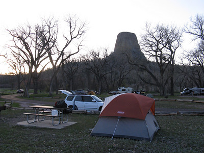 Near dusk: establishing home in the monument's not-large campground - and not very full this early in the season.