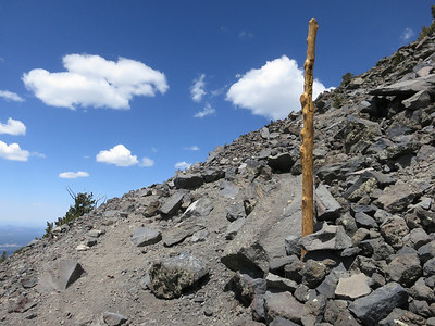 In the final stretch, there are lots of these trail poles.