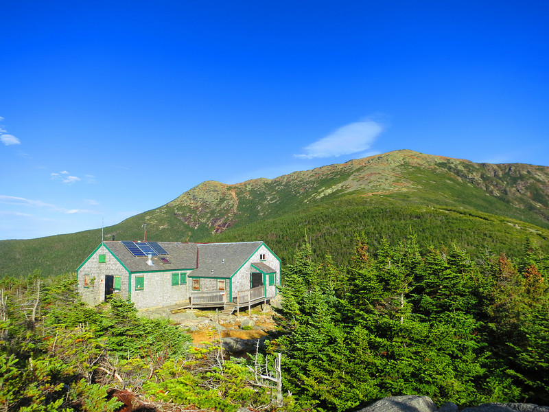 At last, the Greenleaf Hut with Mt Lafayette beyond.