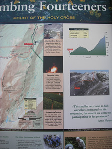 Two images on the right show elevation profile and photo of route from TH to summit. We'll be camping at East Cross Creek, the low point mid-way in the profile.