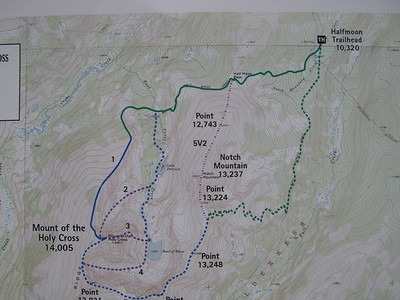 Gerry Roach's map here.  We're doing Route #1 - that would be 12.0 miles RT and 5,625' gain from TH.  Throw in a visit to Lake Patricia: another 2-3 miles and about 800'.