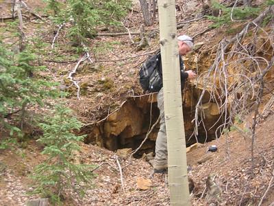 Open mine shaft.
