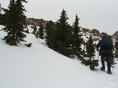 Aha - finally approaching the ridge and firmer snow.