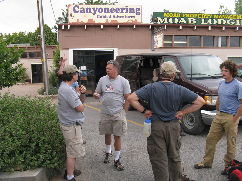 OK, Tuesday morning in Moab - meeting for our canyoneering adventure today in Arches NP. Part of the ACA (American Canyoneering Assoc) spring rendezvous.