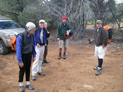 """OK - 7:45 and ready to launch from the upper East Mesa Trailhead. L-R: Arnold, Joel, Corry (Kurt's spouse), Kelley and Kurt, who generously organized the trip but is """"Not the Leader""""! [Be sure to check out Joel's Pix to see Gnarly Bill in action.]"""