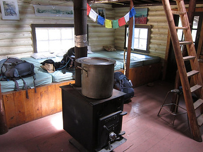 The wood stove here is NOT used for heat at night.