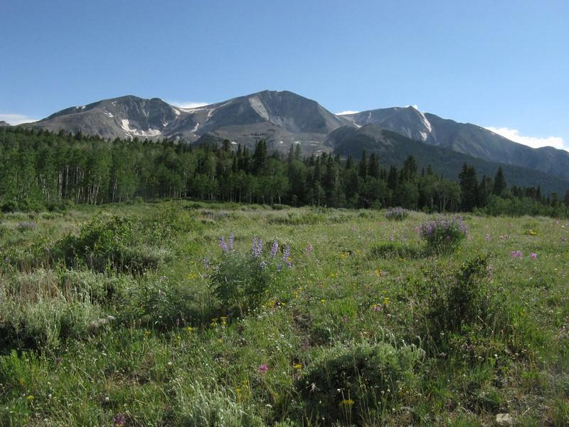 NE ridge on left leading to the East summit in center.
