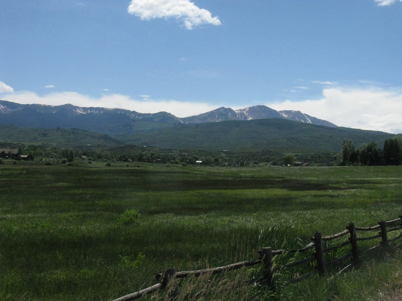 July 2nd now - three weeks later: my first view of Sopris approaching from the east out of Aspen. Yes, the snow has pretty much entirely vanished!