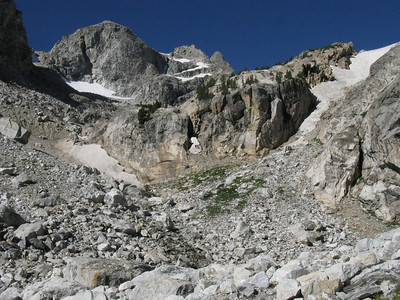Although a few permanent fields, the route to the saddle is pretty much snow-free.