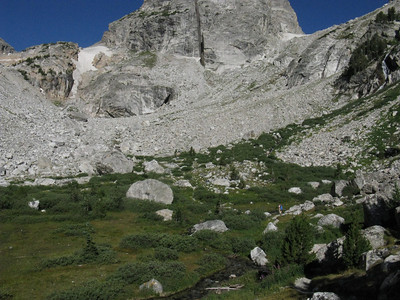 We'll be crossing the Garnet Cyn meadow enroute to the South-Middle T saddle.